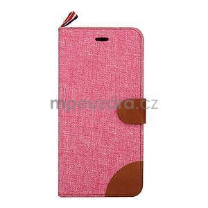 Látkové/koženkové peněženkové pouzdro na iphone 6s a 6 - růžové - 2