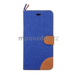 Látkové/koženkové peněženkové pouzdro na iphone 6s a 6 - modré - 2