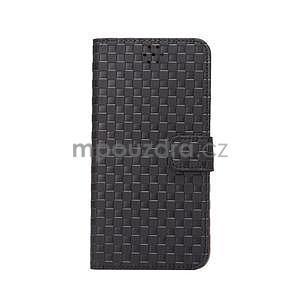 Mřížkované koženkové pouzdro na iPhone 6 a iPhone 6s - černé - 2