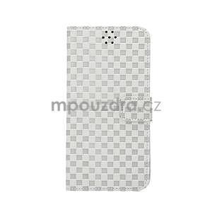 Mřížkované koženkové pouzdro na iPhone 6 a iPhone 6s - šedé - 2