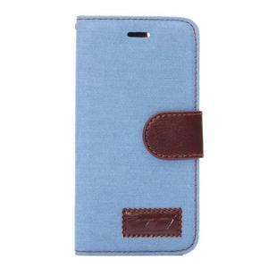Jeans látkové/pu kožené peněženkové pouzdro na iPhone 6 a 6s - světle modré - 2