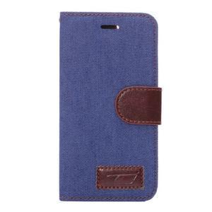 Jeans látkové/pu kožené peněženkové pouzdro na iPhone 6 a 6s - modré - 2
