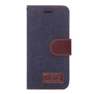 Jeans látkové/pu kožené peněženkové pouzdro na iPhone 6 a 6s - tmavě modré - 2