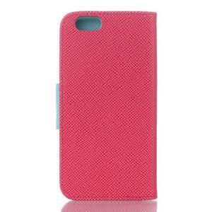 Dvoubarevné peněženkové pouzdro pro iPhone 6 a iPhone 6s - rose/cyan - 2