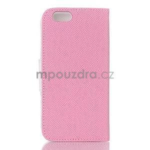 Dvoubarevné peněženkové pouzdro pro iPhone 6 a iPhone 6s - růžové/bílé - 2