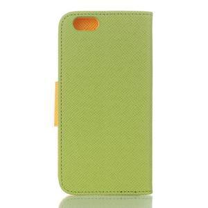 Dvoubarevné peněženkové pouzdro pro iPhone 6 a iPhone 6s - zelené/žluté - 2
