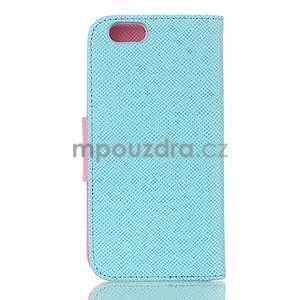 Dvoubarevné peněženkové pouzdro pro iPhone 6 a iPhone 6s - cyan/růžové - 2