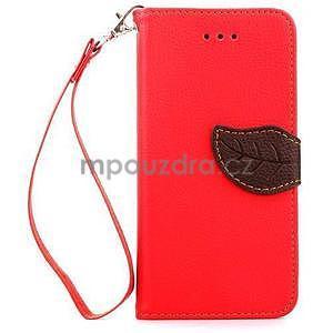 PU kožené peněženkové pouzdro pro iPhone 6s a 6 - červené - 2