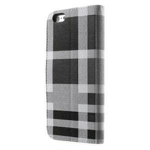 Kárované peněženkové pouzdro na iPhone 6 Plus a 6s Plus - černobílé - 2