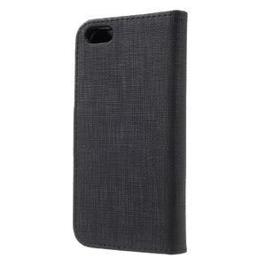Cloth PU kožené pouzdro na iPhone SE / 5s / 5 - černé - 2