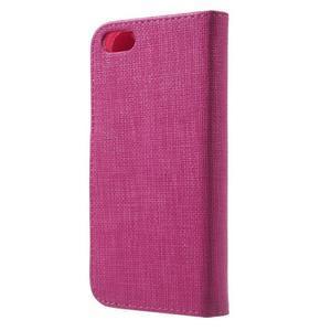 Cloth PU kožené pouzdro na iPhone SE / 5s / 5 - rose - 2