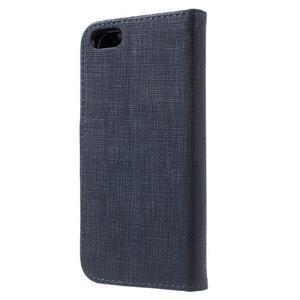 Cloth PU kožené pouzdro na iPhone SE / 5s / 5 - tmavěmodré - 2