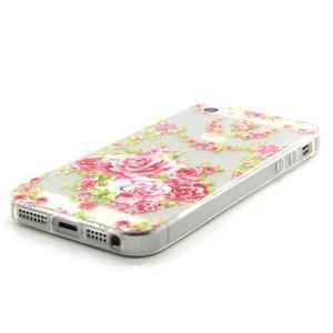 Transparentní gelový obal na mobil iPhone SE / 5s / 5 - růže - 2