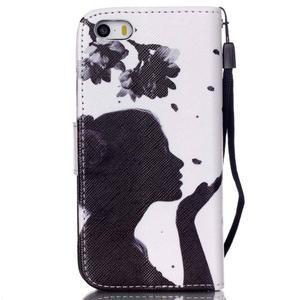 Peněženkové pouzdro na mobil iPhone SE / 5s / 5 - děvče s květinou - 2