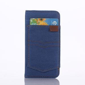Jeans peněženkové pouzdro na mobil iPhone SE / 5s / 5 - modré - 2