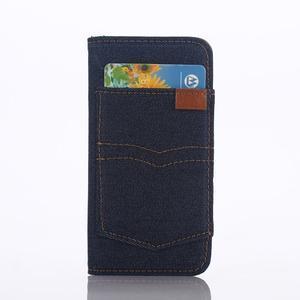 Jeans peněženkové pouzdro na mobil iPhone SE / 5s / 5 - tmavěmodré - 2