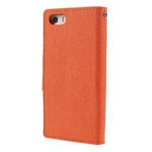 Canvas PU kožené/textilní pouzdro na mobil iPhone SE / 5s / 5 - oranžové - 2