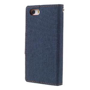 Canvas PU kožené/textilní pouzdro na mobil iPhone SE / 5s / 5 - tmavěmodré - 2