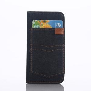 Jeans peněženkové pouzdro na mobil iPhone SE / 5s / 5 - černomodré - 2