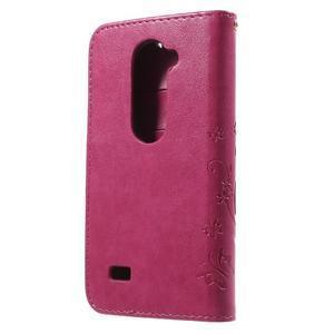 Buttefly PU kožené pouzdro na mobil LG Leon - rose - 2