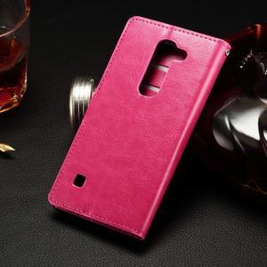 Peněženkové PU kožené pouzdro na LG Spirit - rose - 2