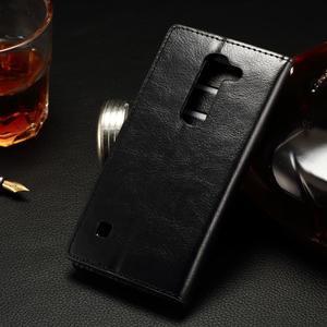 Peněženkové PU kožené pouzdro na LG Spirit - černé - 2