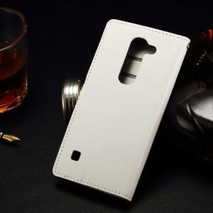 Peněženkové PU kožené pouzdro na LG Spirit - bílé - 2