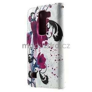 Peněženkové pouzdro na LG Spirit - fialové květy - 2