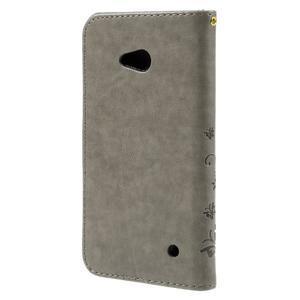 Butterfly PU kožené pouzdro na Microsoft Lumia 640 - šedé - 2