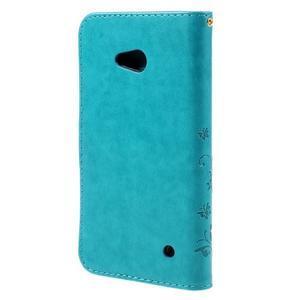 Butterfly PU kožené pouzdro na Microsoft Lumia 640 - modré - 2