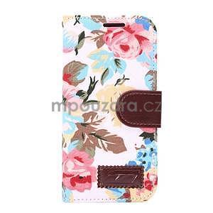 Květinové peněženkové pouzdro na HTC One Mini 2 - bílé - 2