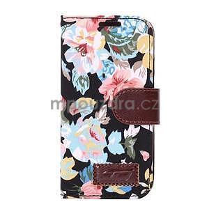 Květinové peněženkové pouzdro na HTC One Mini 2 - černé - 2
