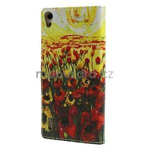 Obrazové peněženkové pouzdro na Huawei Ascend P7 - tulipány - 2