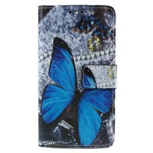 Cross peněženkové pouzdro na Xiaomi Mi4 - modrý motýl - 2