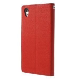 Fancy peněženkové pouzdro na Sony Xperia Z2 - červené - 2