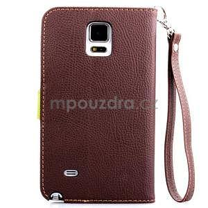 Peněženkové pouzdro s poutkem na Samsung Galaxy Note 4 - hnědé - 2