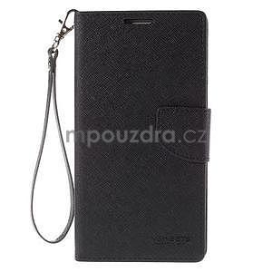 Stylové peněženkové pouzdro na Samsnug Galaxy Note 4 - černé - 2