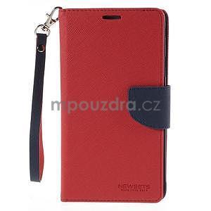 Stylové peněženkové pouzdro na Samsnug Galaxy Note 4 - červené - 2