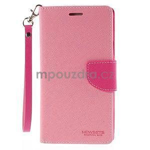 Stylové peněženkové pouzdro na Samsnug Galaxy Note 4 - růžové - 2