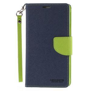 Stylové peněženkové pouzdro na Samsnug Galaxy Note 4 - tmavě modré - 2