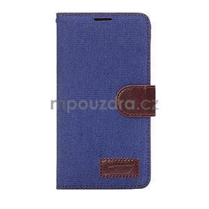 Jeans peněženkové pouzdro pro Samsung Galaxy Note 4 - modré - 2