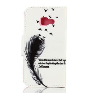 Rich PU kožené pouzdro na mobil Samsung Galaxy A3 (2016) - ptačí peříčko - 2