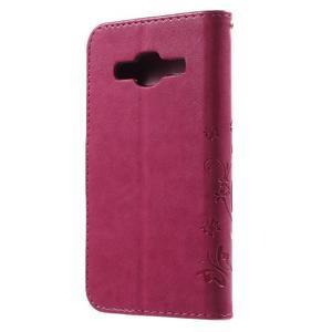 Butterfly PU kožené pouzdro na Samsung Galaxy Core Prime - rose - 2