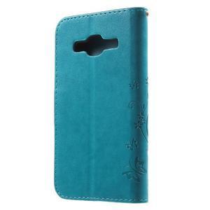 Butterfly PU kožené pouzdro na Samsung Galaxy Core Prime - modré - 2