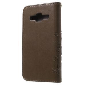 Butterfly PU kožené pouzdro na Samsung Galaxy Core Prime - hnědé - 2