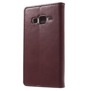 Moon PU kožené pouzdro na mobil Samsung Galaxy Core Prime - vínové - 2