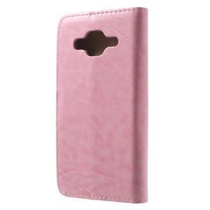 Horse PU kožené pouzdro na mobil Samsung Galaxy Core Prime - růžové - 2