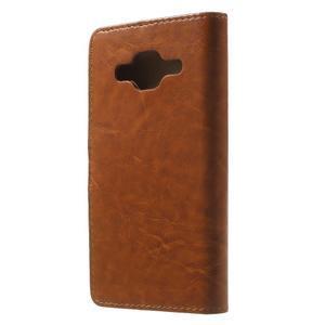 Horse PU kožené pouzdro na mobil Samsung Galaxy Core Prime - hnědé - 2