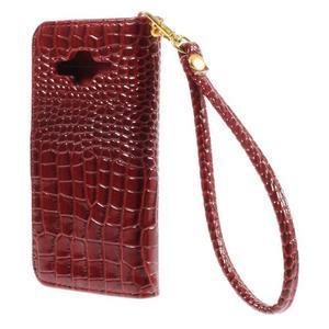Croco peněženkové pouzdro na Samsung Galaxy Core Prime - červené - 2