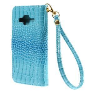 Croco peněženkové pouzdro na Samsung Galaxy Core Prime - modré - 2